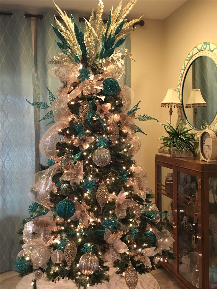 teal christmas tree decorated by mindy meyersick - Teal Christmas Tree