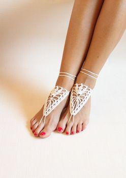 Вязание крючком черный босиком сандалии, Обнаженная туфли, Ноги ювелирных изделий, Викторианской кружево, Йога туфли, Свадебные ножной браслет, Пляжные принадлежности, Черный sandels