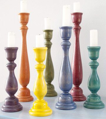 Colorful wooden Candlesticks easy to paint to go with your style  without spending a lot of money.