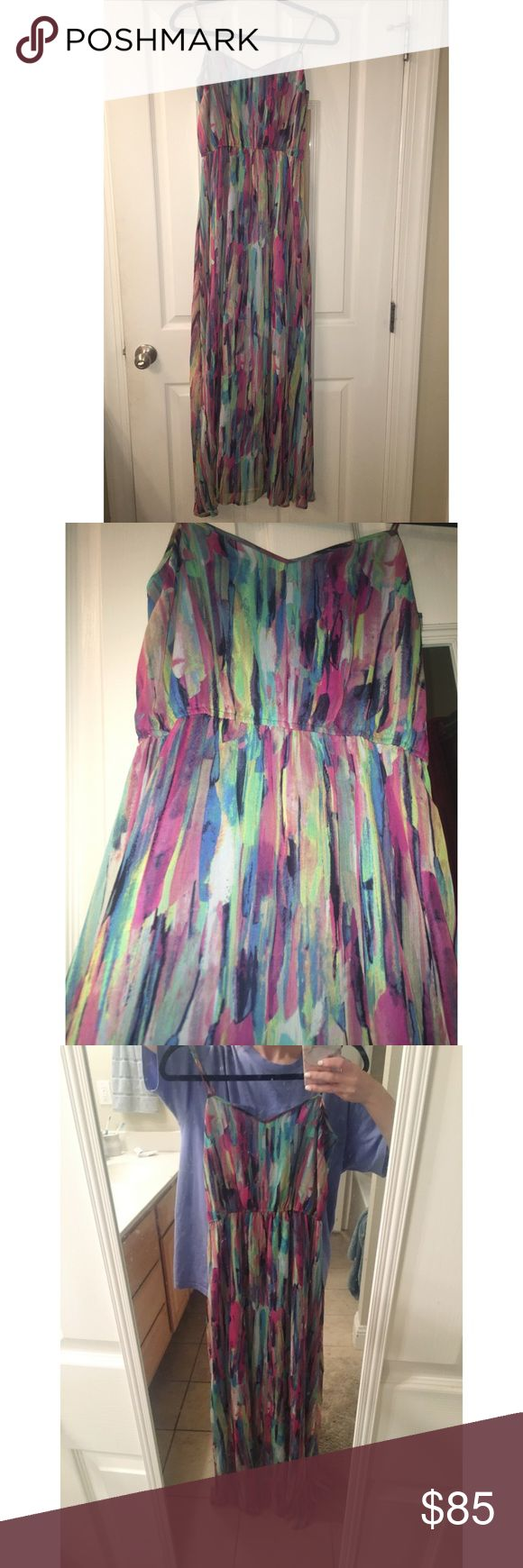 "5/48 Watercolor Maxi Dress from Saks Off 5th! 5/48 watercolor maxi dress with lining from Saks Fifth Avenue Off 5th! Worn for one event! Size 4 but runs small {0-2}! I'm 5' 5"" and I wore it with heels, but it can be worn with flats by tightening the straps a little! Saks Fifth Avenue Dresses Maxi"