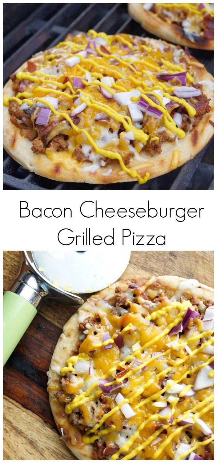 Bacon Cheeseburger Grilled Pizza! This delicious spin on pizza combines the best of a cheeseburger with pizza! It is made even better by being grilled!