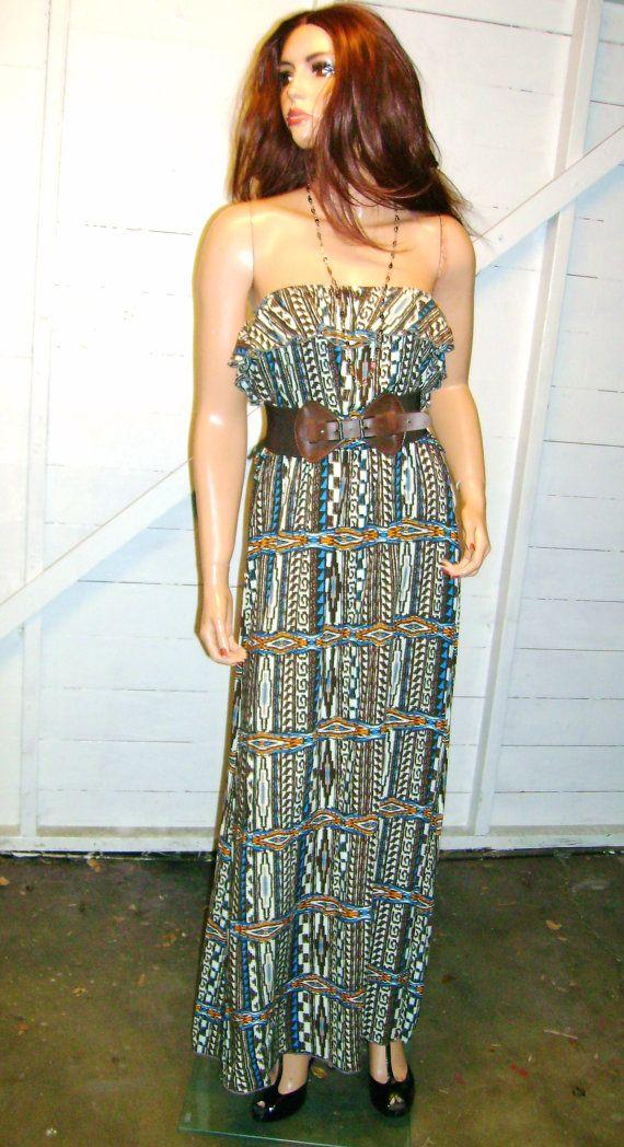 Vintage Brown Blue Ruffled Tube Top Maxi Dress M