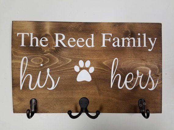 His Hers Dog Key Holder Dog Leash Holder With Hooks Gift Etsy Dog Leash Holder Dog Leash Leash Holder
