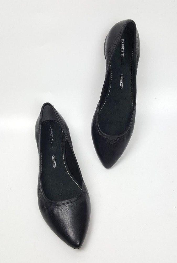 Rockport shoes 8.5 M black leather Ashika Scooped Ballet Flats  #Rockport #BalletFlats #Casual