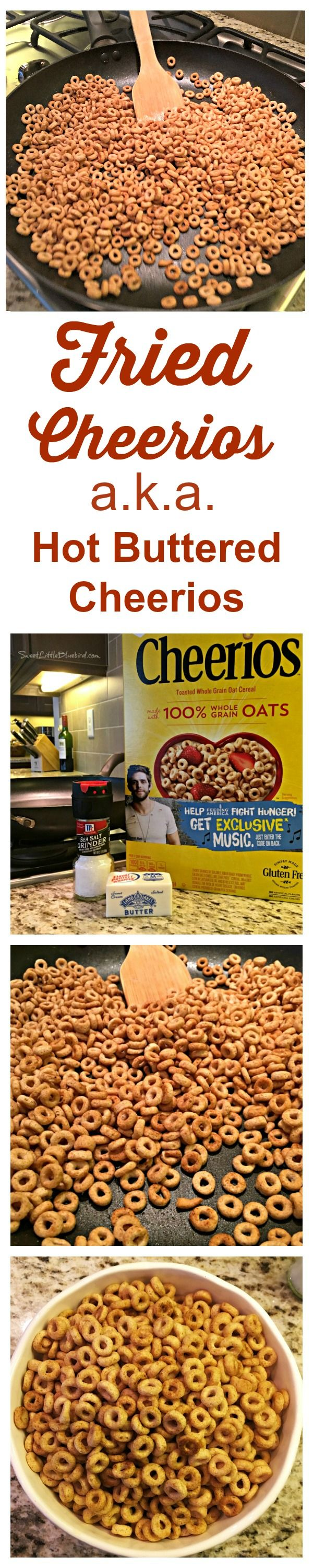 FRIED CHEERIOS (aka HOT BUTTERED CHEERIOS) An old school classic snack - buttery, crunchy, salty goodness that's ready in about 5 minutes! Simple to make, so good. Skip the popcorn and give this recipe a try!