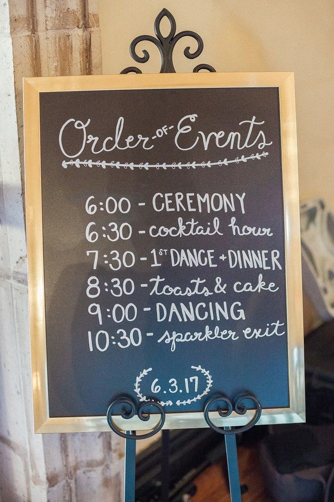 Order Of Events Chalkboard Sign At Wedding Ceremony Written In White