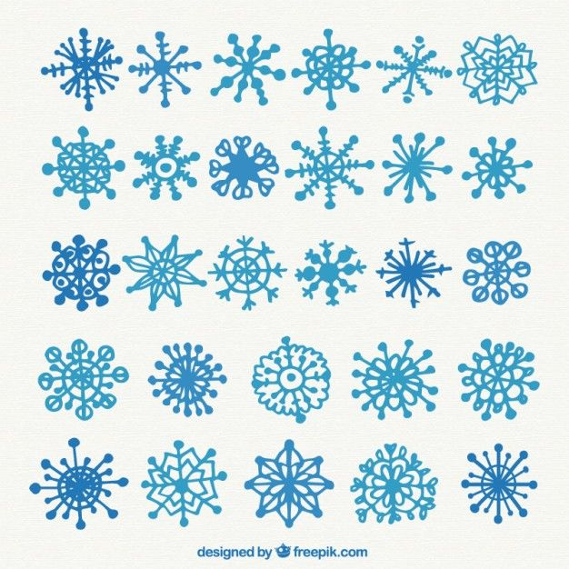 Free vector Blue snowflakes collection in hand drawn style #33541