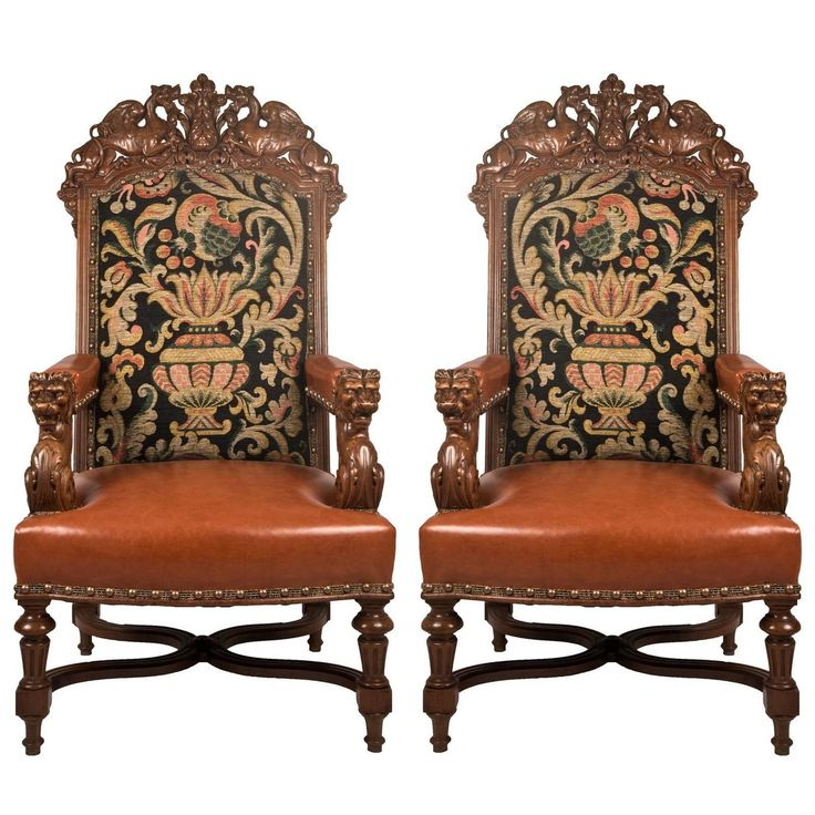 pair of 19th century louis xiv style fauteuil walnut chairs louis xiv armchairs and chairs. Black Bedroom Furniture Sets. Home Design Ideas