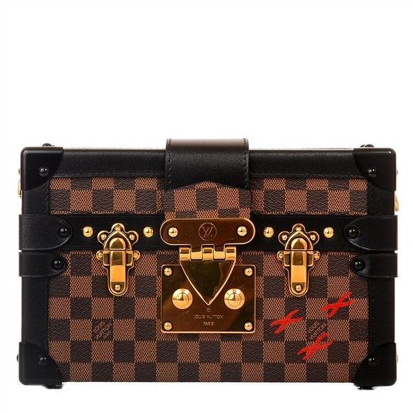 Louis Vuitton Damier Ebene Petite Malle | MadisonAvenueCouture.com ($7,750) ❤ liked on Polyvore featuring bags