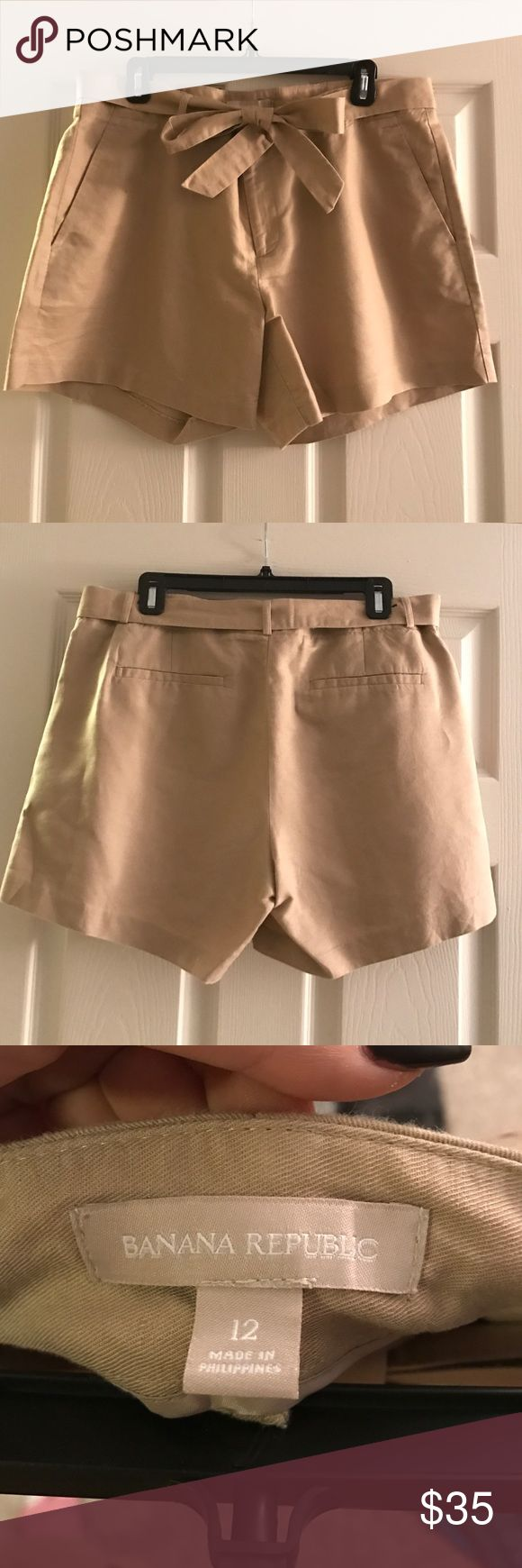 Tan Banana Republic Shorts with Tie Belt Super cute and comfy! Could be dressed up or dressed down. Can tie the belt however you prefer I just thought it was cute with the bow! Only worn a few times! No trades! Banana Republic Shorts