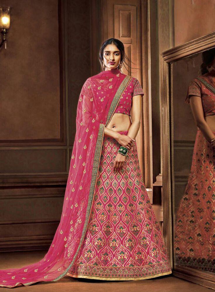 Pink Art Silk Embroidered A Line Lehenga Choli 86366
