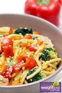 Healthy Asian Recipes: Seasame Chicken with Hokkien Noodles. weightloss.com.au #HealthyRecipes #DietRecipes #WeightlossRecipes