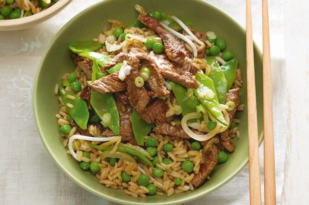 Beef and snow pea stir-fry with easy fried rice main image