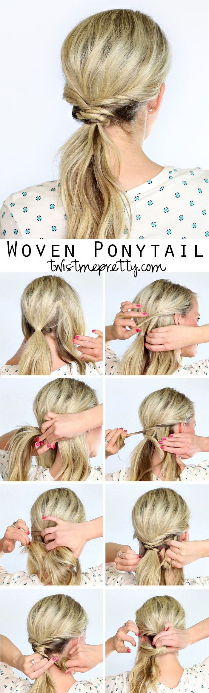 You'll need a few clear elastics and three minutes max to pull this beautiful woven ponytail together.  Come watch the DIY tutorial at Twist Me Pretty