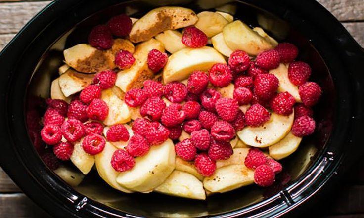 Compote de pommes et framboises à la mijoteuse, tellement facile à faire!