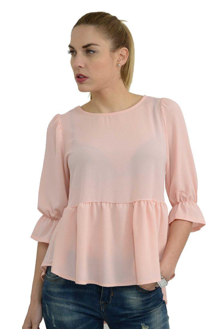 Γυναικεία πουκαμίσα ασύμμετρη με 3/4 μανίκια & βολάν σε άνετη γραμμή.Είναι μακρύτερη στο πίσω μέρος και το ύφασμα της είναι εξαιρετικής ποιότητας mousseline crepe.