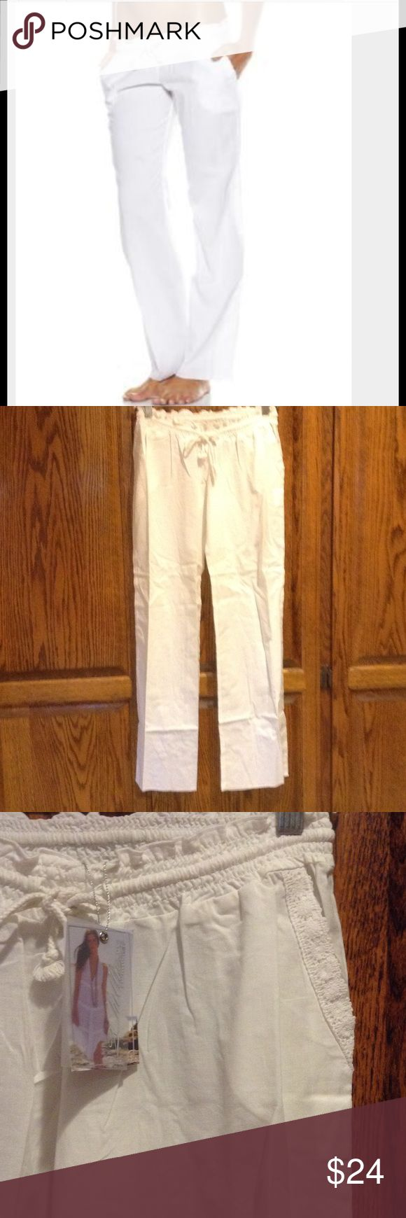 """White Beach Pants These cute white beach pants are the perfect addition to your summer wardrobe. Elastic waist, drawstring closure. Front slant pockets! With embroidery detail. Semi sheer. 100% soft cotton. Inseam 29"""". Please refer to my 2chillies sizing chart in my closet for the perfect size and fit. Remember, these are meant to sit at your hips, so go by your hip measurements, not your waist👙 2Chillies Swim Coverups"""