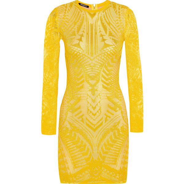 Balmain Crochet-knit mini dress ($2,680) ❤ liked on Polyvore featuring dresses, balmain, short dress, yellow, short dresses, balmain dress, geometric print dress and yellow mini dress