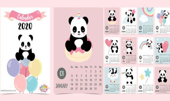 Doodle New Year 2020 Calendar Template Free Download Cute Doodle Yearly Calendar Panda Wall Calendar Anima Doodles Calender Design 2020 Calendar Template