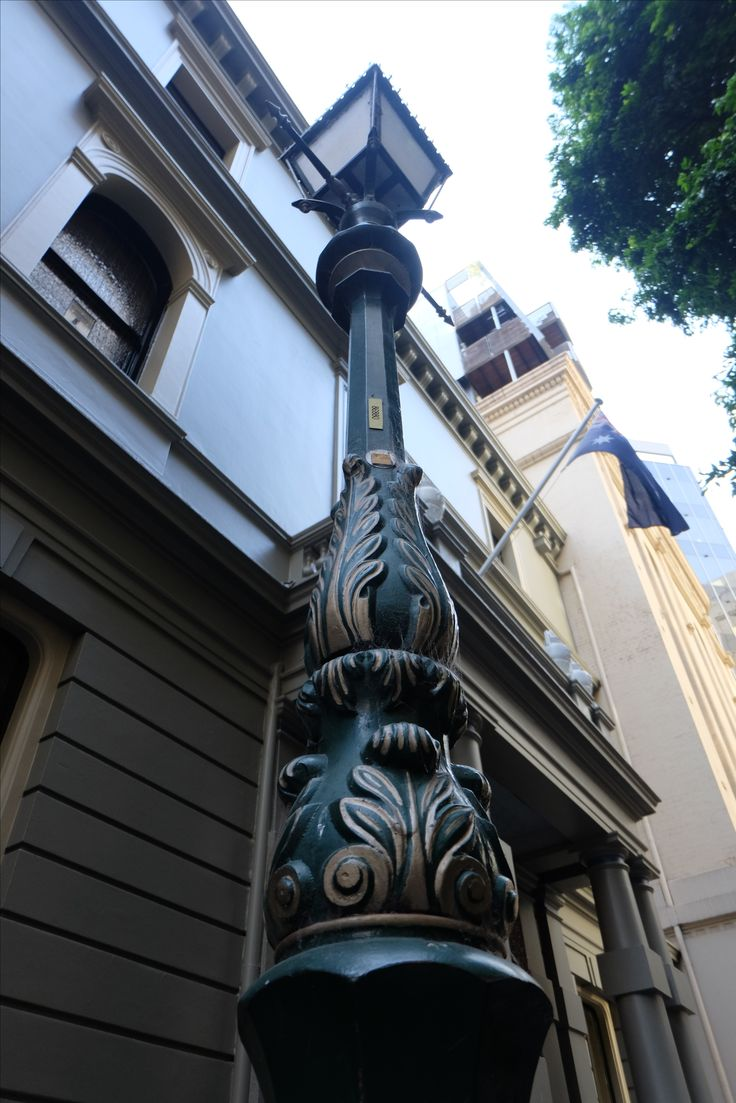 Beauttiful old street lamp in Bank Place Melbourne.
