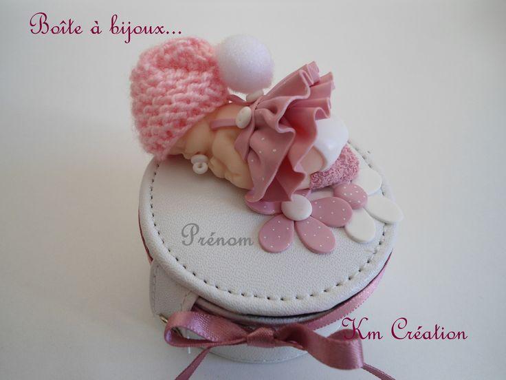 Boîte à bijoux petite fille et son bonnet de laine (création en fimo) : Chambre d'enfant, de bébé par km-creation