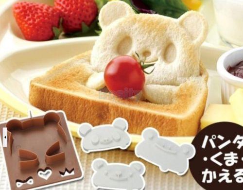1 set Panda Shape Frog Toast Sandwich Onigiri Bento Maker Bread Mould Cutter DIY
