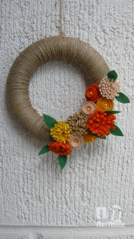 Felt wreathfelt flowershome decor wreath by NatmadeCrafts on Etsy