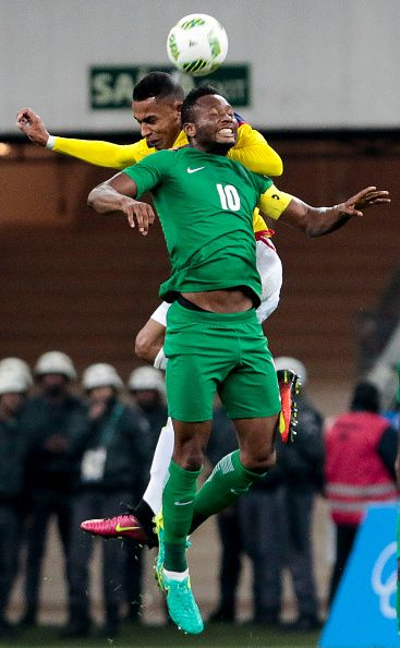 #RIO2016 William Tesillo of Colombia vies for the ball with John Obi Mikel of Nigeria during their Rio 2016 Olympic Games First Round Group B football men's...