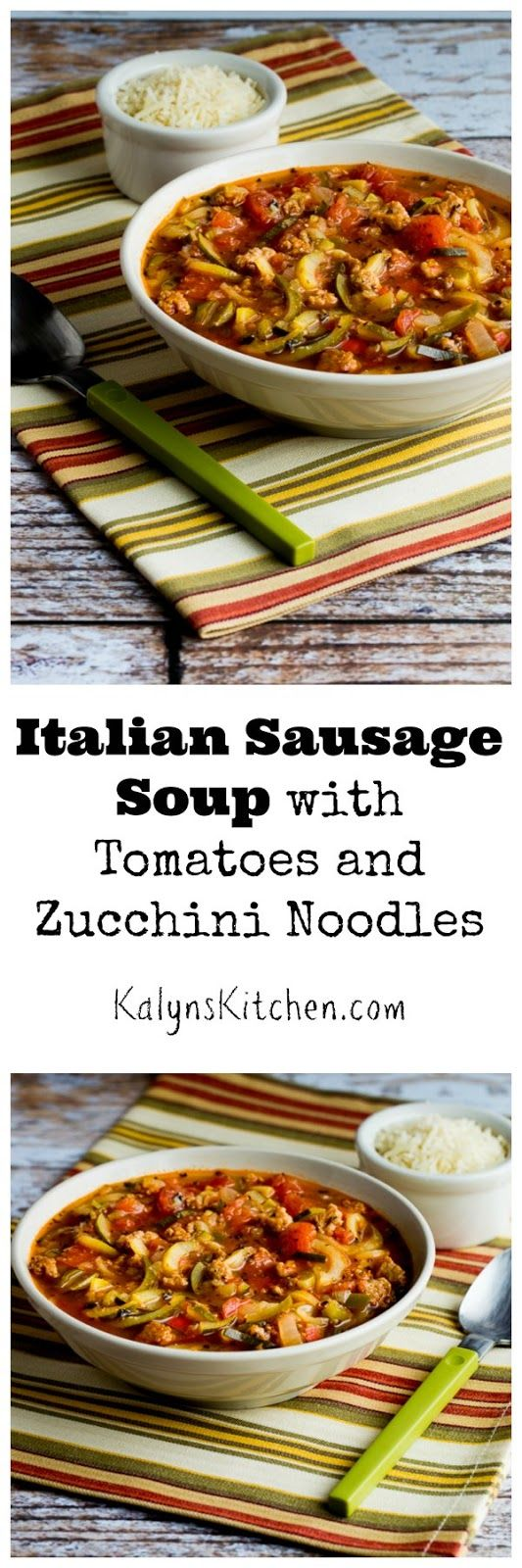 Don't put away your spiralizer for winter; this Low-Carb Italian Sausage Soup with Tomatoes and Zucchini Noodles also gluten-free, and can be Paleo or Whole 30. [found on KalynsKitchen.com]