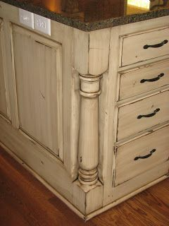 Cream Distressed Kitchen Cabinets | The Magic Brush, Inc.: Cabinet recolor!