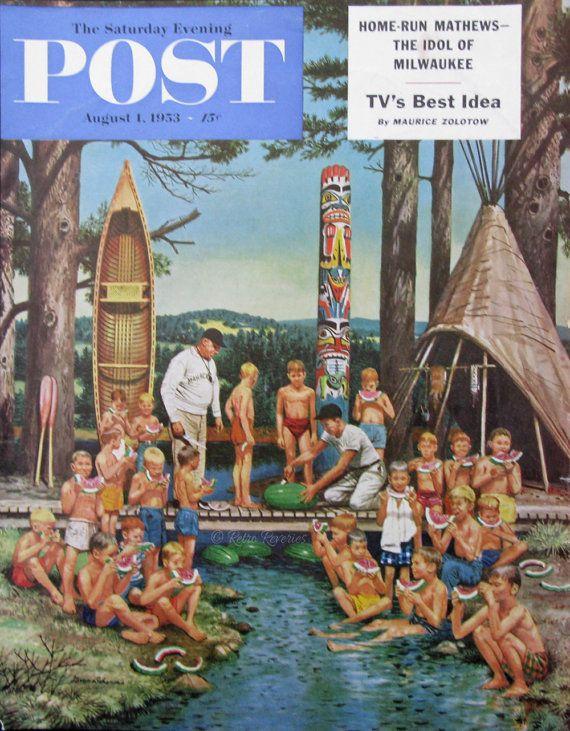 Aug 1953 Post Magazine Cover Art - Watermelon at Camp - 1950s Boy's Summer Camp - Happy Children - Totem Pole - Stevan Dohanos Art Print