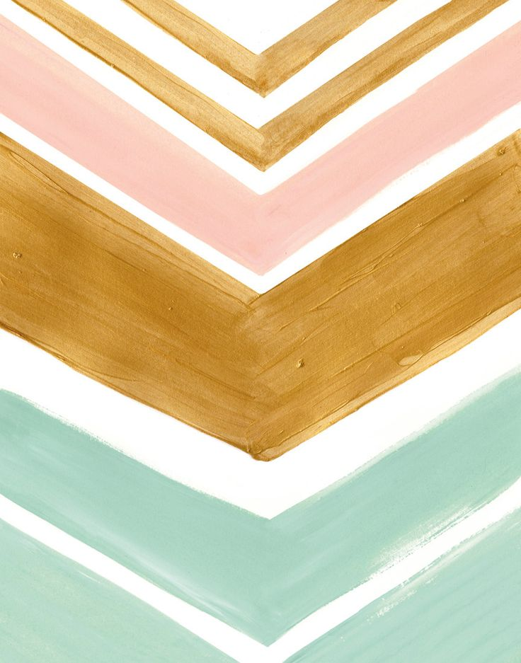 Mint Gold Peach Chevron Stripes Art Print As Big Girl Room Color Inspir These Are The Colors