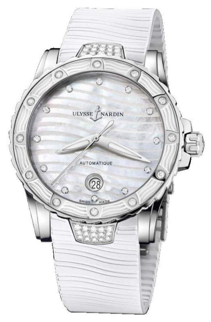 Ulysse Nardin 8153-180E-3C/10 Lady Diver Steel. #ulyssenardin - белые - швейцарские женские наручные часы