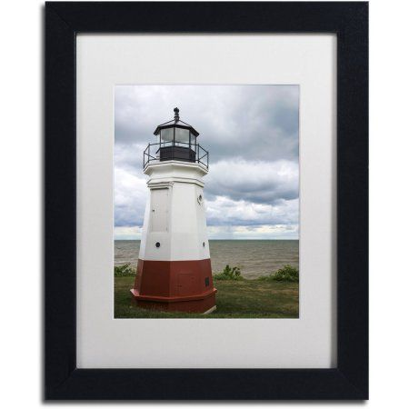 Trademark Fine Art Vermillion Ohio Lighthouse Canvas Art by Kurt Shaffer, White Matte, Black Frame, Size: 11 x 14, Red