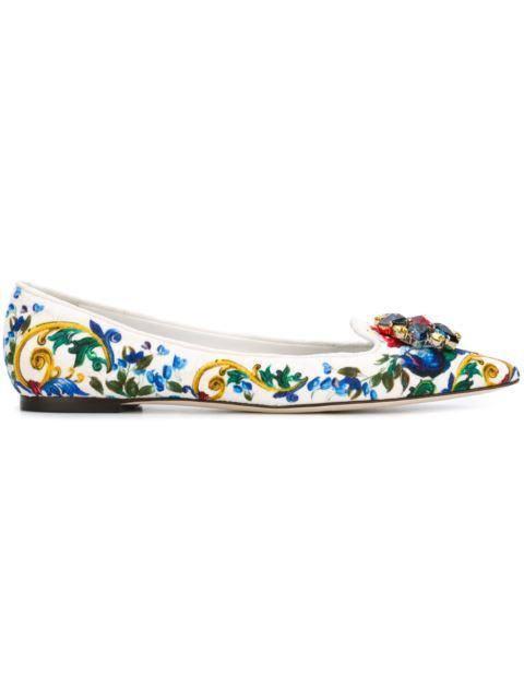 DOLCE & GABBANA Embellished Majolica Print Ballerinas. #dolcegabbana #shoes #flats