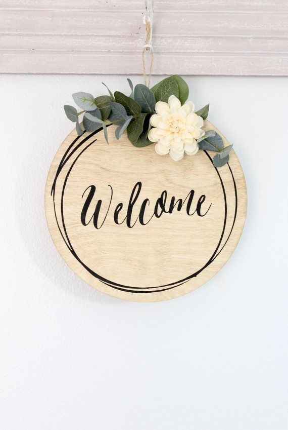 Welcome Wreath Sign Welcome Sign Floral Door Sign Door Decor Wreath Sign Welcome Door Signs Welcome Wreath