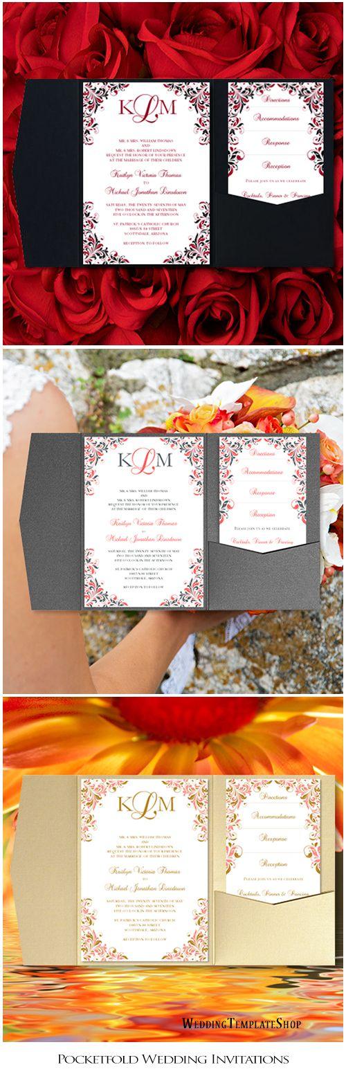 pocket wedding invitation templates%0A Pocket Fold Wedding Invitations Kaitlyn Apple Red Black  x