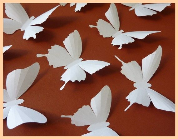 3D Wall Butterflies  60 White Butterfly Silhouettes by BugsLoft, $76.00