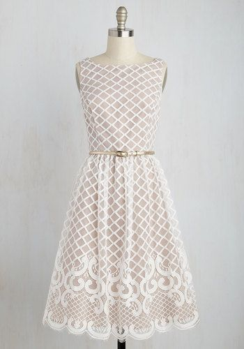 Broadcasting Belle Dress - White, Tan / Cream, Print, Special Occasion, Party, Fit & Flare, Sleeveless, Woven, Better, Long