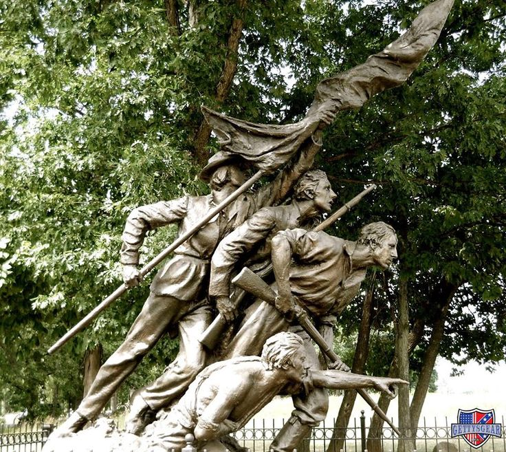This monument to the State of North Carolina was designed by the same individual who sculpted Mount Rushmore! Gutzon Borglum completed this monument in 1929, which displays a Confederate officer pointing towards the enemy during Pickett's Charge. During the dedication ceremony, a plane flew overhead and released roses over the field as an acknowledgment to the North Carolinians who gave their lives during Pickett's Charge and the entirety of Battle of Gettysburg.