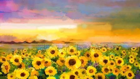 Downloaden - Olieverf schilderij geel-gouden zonnebloem, madeliefjebloemen in velden — Stockbeeld #97923996