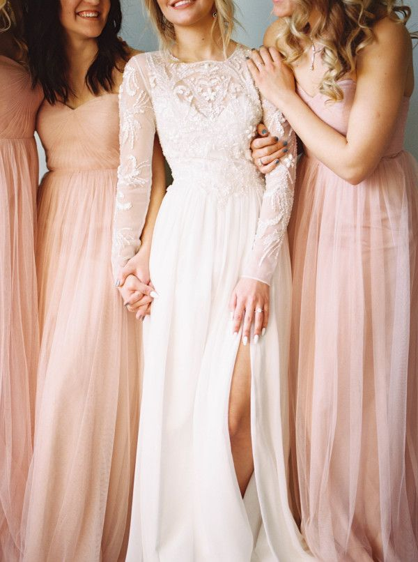Sheer long sleeve beaded wedding gown: http://www.stylemepretty.com/2016/12/15/best-wedding-dresses-of-2016/ Photography: Linnea Paulina - http://linneapaulina.com/