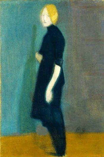 Helene Schjerfbeck, Girl Figure -Mädchen vom Bildteppich, 1915, Oil on canvas