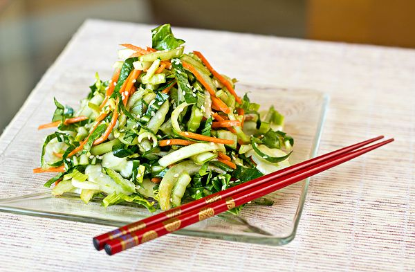 Salad - Crisp Baby Bok Choy Greens in Tangy-Sweet, Sesame-Soy Vinaigrette... great flavors!