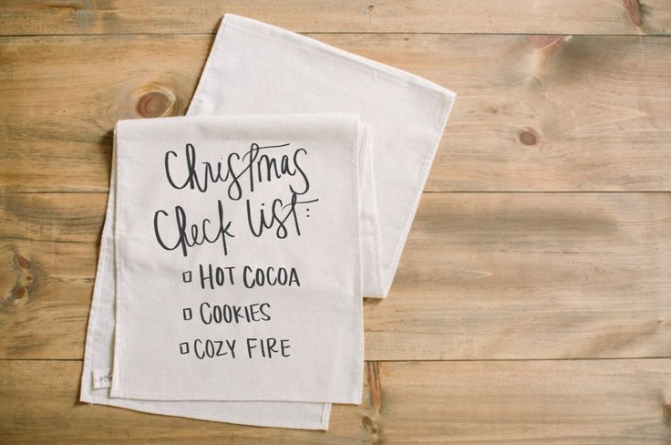 Table Runner - Christmas Checklist, Christmas home decor, Holiday present, housewarming gift, tableware, table scene, place setting by PCBHome on Etsy https://www.etsy.com/listing/481657417/table-runner-christmas-checklist