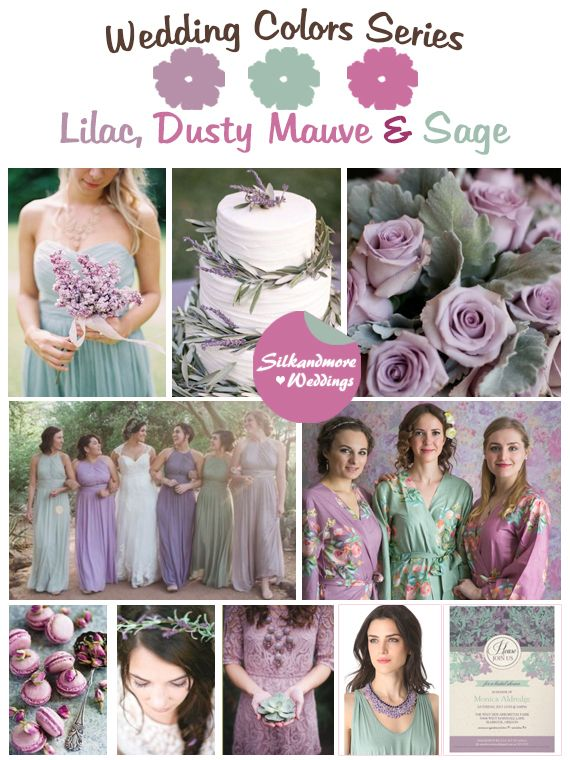 Lilac dusty mauve and sage wedding color palette lilac - What colors go with sage ...