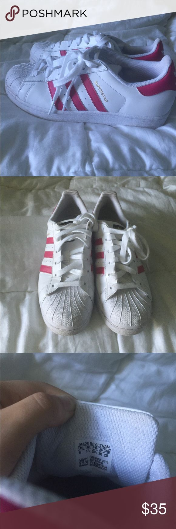 Pink adidas superstar shoes Great condition these shoes have only been worn a few times. Size kids 6, fits like a women's 7.5 adidas Shoes Sneakers