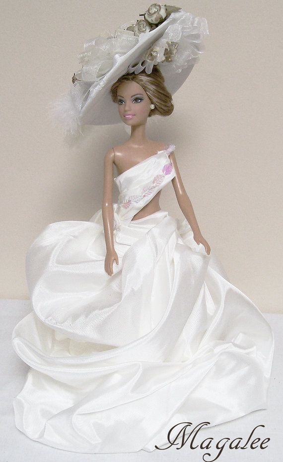 Barbie wedding dress ball gown evening dress with large - Barbie mariee ...