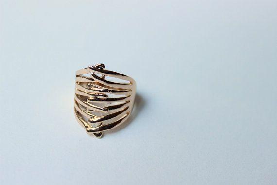 Anello intrecciato maxi anello anello dorato anello di Stonivine
