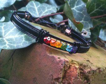 Rainbow Gay Lesbian Pride Bangle Bracelet LGBT by MoonshineGems